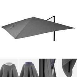 Bezug für Luxus-Ampelschirm MCW-A96, Sonnenschirmbezug Ersatzbezug, 3x3m (Ø4,24m) Polyester 2,7kg ~ anthrazit