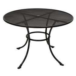 Gartentisch aus Metall und Streckmetall, eisengrau beschichtet mit Schirmloch, Maße: B/H/T ca. 110/72/110 cm