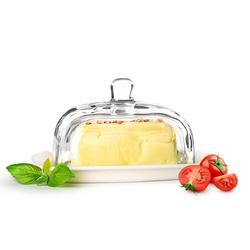 Sendez Butterdose auf Porzellanteller Butterglocke Butterschale Kühlschrankbutterdose