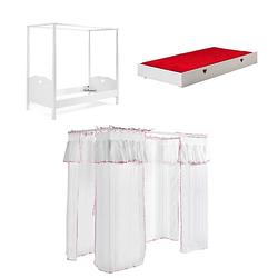 Himmelbett Padma Vipack inkl. Vorhang Set + Bettschublade 2-tlg. Weiß weiß