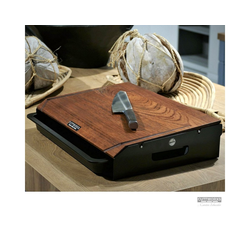 CUTTWORXS Schneidbrett Black 'n Wood Infinity - Nussbaum Holz & Stahl - 44x30cm - Profi Arbeitsstation, Holz