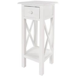 elbmöbel Telefontisch Telefontisch weiß Holz, Beistelltisch: Schublade 27x66x27 cm weiß Landhausstil