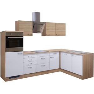 Eckküche ROM - L-Küche mit E-Geräten - Breite 280 x 170 cm - Weiß / Eiche Sonoma