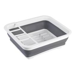 WENKO Küchenhelfer-Set Geschirrabtropfer faltbar Grau/Weiß