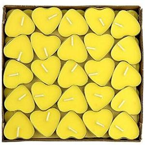 Kentop 50 Teelicht Set Kerzen Rauchfrei Teelicht Romantische Herz Teelicht Set für Vorschlag, Hochzeit, Geburtstag,Party (Gelb)