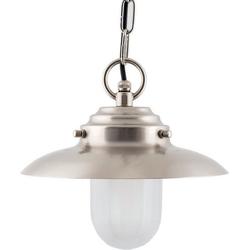 Licht-Erlebnisse Außen-Deckenleuchte KAVALA Maritime Hängelampe Laterne Messing Glas Nickel Außenlampe Balkon Lampe