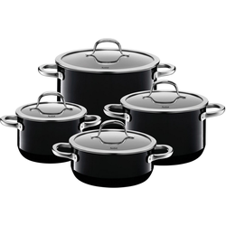 Silit Topf-Set Passion Black, Silargan®, (Set, 8-tlg), Silargan, Induktion, Glasdeckel