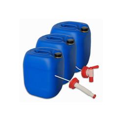 Plasteo Kanister plasteo Set 3 x 30 Liter Getränke- Wasserkanister mit 1 Hahn + 1 flexiblem Ausgießer, 3 Kanister + Hahn + Ausgießer