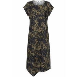 Leinenkleid Kleid aus 100% Leinen Anna Aura schwarz/oliv