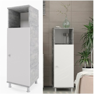 VICCO Badschrank FYNN Weiß / Grau Beton - Badezimmerschrank Badregal Midischrank