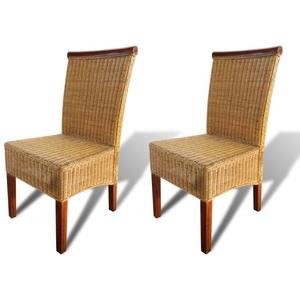 Festnight 2 Stk. Esszimmerstühle Set Essstuhl Rattanstuhl Küchenstuhl Stuhlset Sitzgruppe für Esszimmer oder Küche