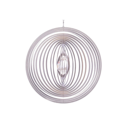 ILLUMINO Windspiel Edelstahl Windspiel Circolo -L mit klarer 30mm Kristallkugel Metall Windspiel für Garten und Wohnung Gartendeko Wohn und Fenster Deko
