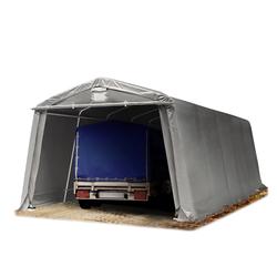 Toolport Zeltgarage 3,3x7,7m PVC 500 g/m² grau wasserdicht Garagenzelt