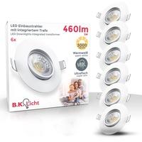B K Licht B.K.Licht LED Einbauleuchte, LED Einbauspots schwenkbar IP23 ultra-flach SET Deckenspots warmweiß 5W 460 Lumen