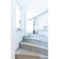 Stufenmatte Newport, Andiamo, halbrund, Höhe 8,5 mm, Teppich-Stufenmatten, Treppen-Stufenmatten, Treppenschutz, für innen, Set mit 2 Stück oder 15 Stück, meliert natur