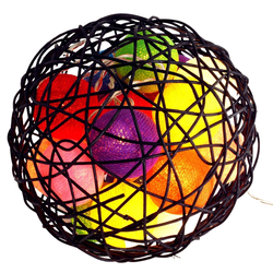 Guru-Shop LED-Lichterkette Bunte Stoff Ball Lichterkette LED Kugel Lampion..