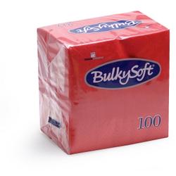 BulkySoft® Cocktail Servietten, 1/4 Falz, 2- lagig, Saugfähige, randgeprägte weiche Serviette aus 100% Zellstoff, 1 Karton = 20 x 100 Servietten, Farbe: rot