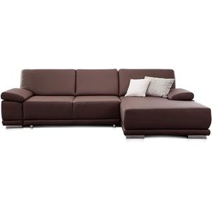 CAVADORE Ecksofa Corianne in Lederoptik / Couch inkl. Armteilverstellung und Longchair in modernem Design / 282 x 80 x 162 / Kunstleder, braun
