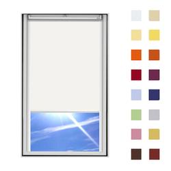 Dachfensterrollo guenstig nach Mass, Stoff Polyester, Farbe weiss, mit Kassette oder als Springrollo, weitere 120 Farben im Shop