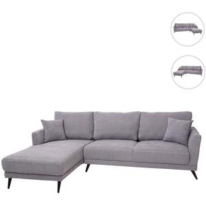 Sofa HWC-G45, Couch Ecksofa L-Form 3-Sitzer, Liegefläche Nosagfederung Taschenfederkern ~ links, vintage grau