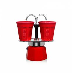 Bialetti Set Mini Express rot - Aluminium-Espressokocher mit 2 Espressobechern
