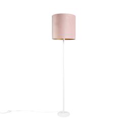 Romantische Stehlampe weiß mit rosa Schirm 40 cm - Simplo