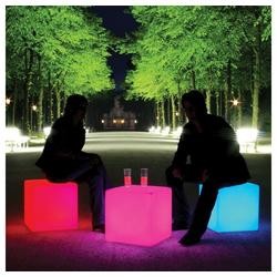 Moree Stehlampe Akku LED Sitzwürfel Cube mit Farbwechsel IP54