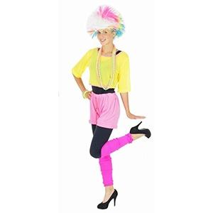 Foxxeo 80er Jahre Aerobic Kostüm für Damen Karneval Fasching Neon Party Netzshirt Größe M