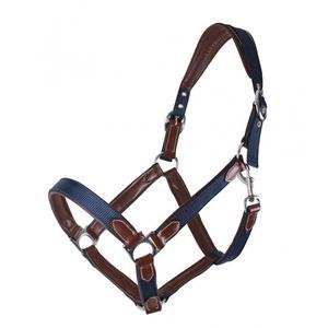 QHP Halfter mit weichem Leder unterlegt 2-Fach verstellbar 2 Farben (Pony, Navy/braun)