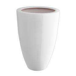 Dehner Übertopf Vase, konisch, glasierte Keramik weiß Ø 17 cm x 26 cm