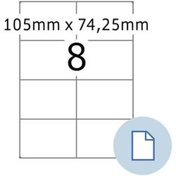 Etiketten A4 Papier weiß 105x74,25mm 500 Blatt/4000 Etiketten