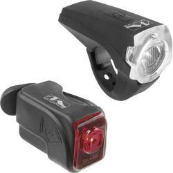 M-Wave Fahrradbeleuchtung Set ATLAS K10 USB LED akkubetrieben Schwarz