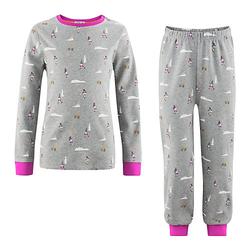 Schlafanzug Schlafanzüge Kinder grau Gr. 110/116  Kinder