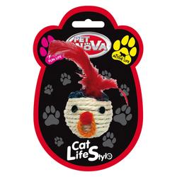 Katzenspielzeug Sisal 5cm Kopf mit Federn