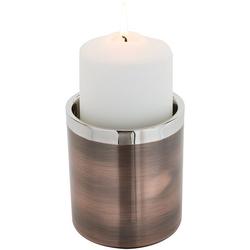 Fink Kerzenhalter VITO (1 Stück), aus Edelstahl, im modernen Design braun Ø 10 cm x 11 cm