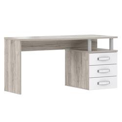 Forte Schreibtisch Rondino in weiß hochglänzend/Sandeiche-Optik