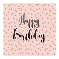 PPD Papierserviette Birthday Confetti Rosé 20 Stück 33 cm