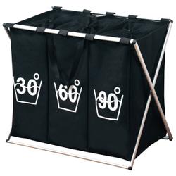 Kesper Wäschesortierer mit 3er Einteilung, Faltbarer Wäschesammler zum Sortieren, Farbe: schwarz
