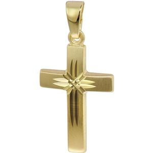 trendor Kreuz-Anhänger 333 Gold 19 mm Damen Kettenanhänger aus Gold, modischer Kreuzanhänger, zeitlose Geschenkidee, zauberhafter Schmuck aus Echtgold 35743
