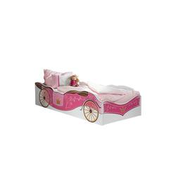 Kindermöbel 24 Bettgestell Kinderbett Zoe Kutschenmotiv weiß - pink inkl. Matratze (2-tlg) rosa