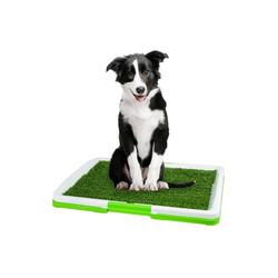 PRECORN Hundewindel Welpenklo weiss/grün mit Kunstgras Hundetoilette Welpentoilette Welpenerziehung Hundeklo