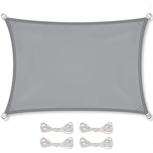 CelinaSun Sonnensegel inkl Befestigungsseile PES Polyester wasserabweisend imprägniert Rechteck 3,5 x 5 m hell grau