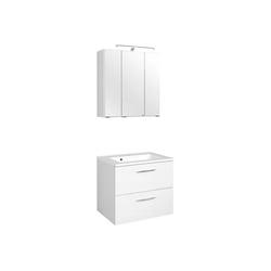 Lomadox Waschtisch-Set BERGAMO-03, (Spar-Set, 2-tlg), Waschtisch & Spiegelschrank, weiß, B x H x T ca.: 60 x 200 x 35cm 60 cm x 200 cm x 35 cm