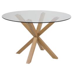 Stół do jadalni okrągły Kardema średnica 119 cm szklany na dębowej podstawie
