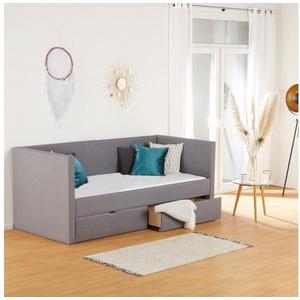 Homestyle4u Polsterbett, Einzelbett Tagesbett + Bettkästen, *Grau, 90x200cm*