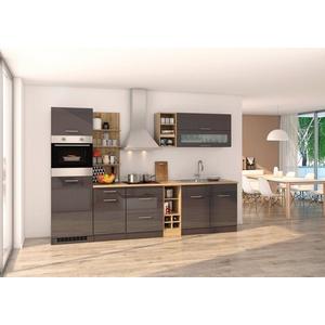 HELD MÖBEL Küchenzeile Mailand, mit Elektrogeräten, Breite 300 cm grau
