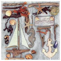 Linoows Papierserviette 20 Servietten Maritim, Treibholz und Maritime, Motiv Maritim, Treibholz und Maritime Kleinode