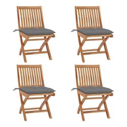 vidaXL Gartenstuhl Gartenstühle, 1/2/4/6/8x Teak Massiv Gartenstuhl mit Kissen Stuhl mehrere Auswhal