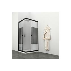 WELLTIME Eckdusche Trento Black, variabel verstellbar 80-90 cm, Duschkabine, BxT: 90 x 90 cm schwarz