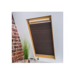 Dachfensterplissee Universal Dachfenster-Plissee, Liedeco, verdunkelnd, ohne Bohren, verspannt, Fixmaß braun 55 cm x 141 cm